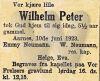 Wilhelm Peter Arbo Neumann's dødsanonse